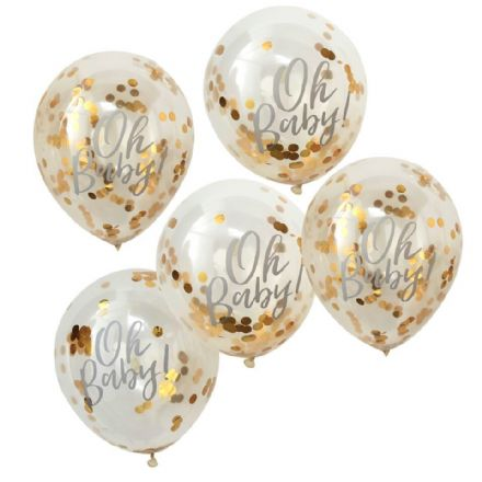 """Oh Baby!"" Gold Confetti Balloons"